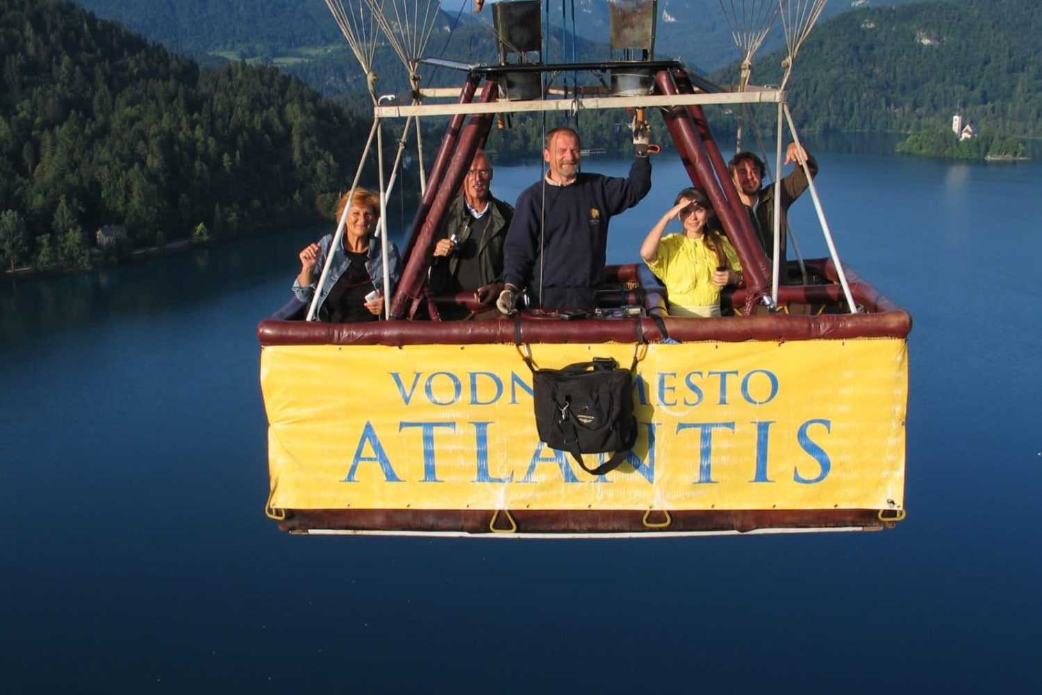 Balloon flight above lake Bled