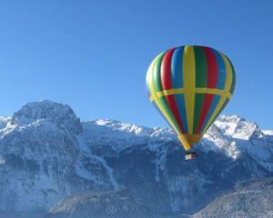 Winter balloon flight in Slovenia