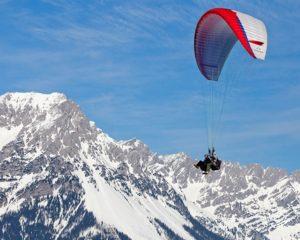 Winter paragliding in slovenia